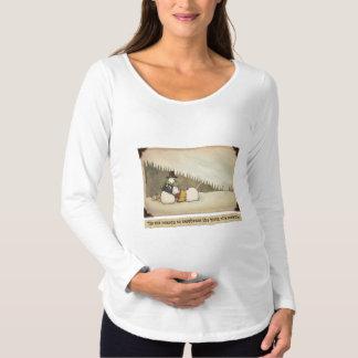 雪だるまの誕生の妊婦のな長袖のTシャツ マタニティTシャツ