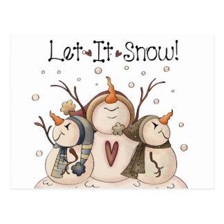 雪だるまの雪片の冬の国の原住民 ポストカード