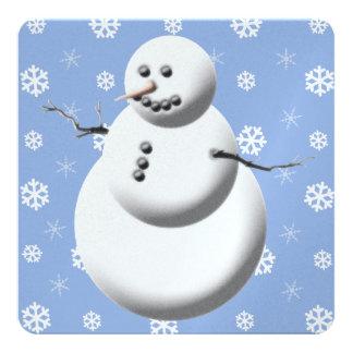 雪だるまの青および白い休日カード カード