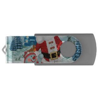雪だるまを持つおもしろいなサンタクロース USBフラッシュドライブ