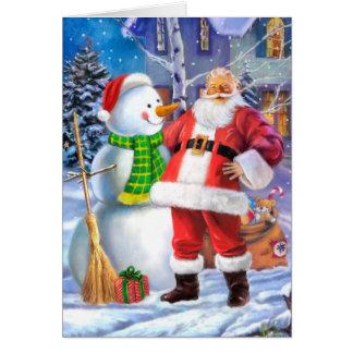 雪だるまを持つサンタクロース カード