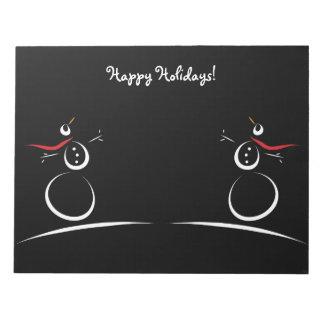 雪だるま喜びの「幸せな休日」のカスタムな文字のテンプレート ノートパッド