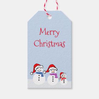 雪だるま家族のクリスマスのギフトのラベル ギフトタグ