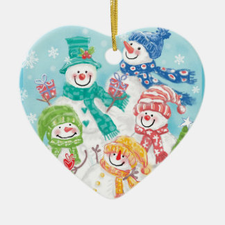 雪だるま家族のクリスマスオーナメント セラミックオーナメント