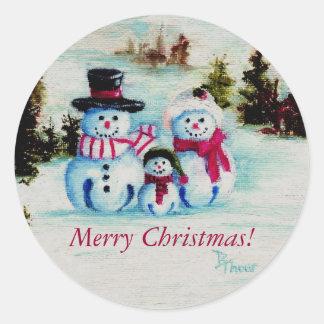 雪だるま家族のメリークリスマスのステッカー ラウンドシール