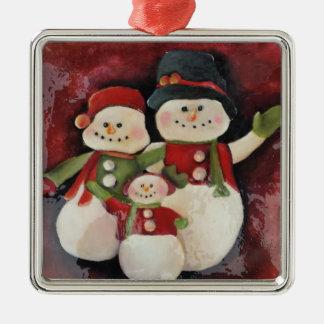 雪だるま家族の優れたクリスマスのオーナメント メタルオーナメント