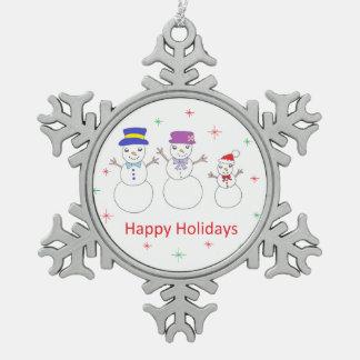 雪だるま家族の幸せな休日 スノーフレークピューターオーナメント