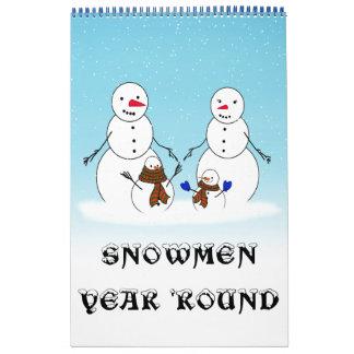 雪だるま年の「円形のカレンダー カレンダー