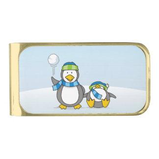 雪だるま式に増大するペンギン 金色 マネークリップ