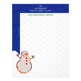「雪だるま「の年次クリスマスの手紙レターヘッド レターヘッド