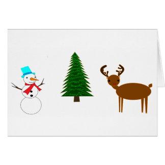 雪だるま、木、トナカイ カード