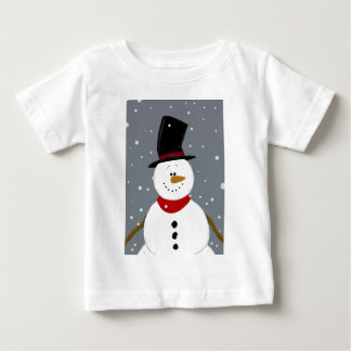 雪だるま-銀 ベビーTシャツ