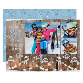 """雪だるま""""雪多くのおもしろい"""" - 3つの写真 カード"""