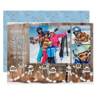 """雪だるま""""雪3つの写真上の降雪との多くのおもしろい"""" カード"""