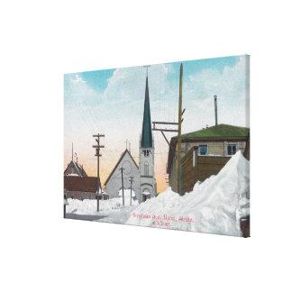雪でカバーされるSteadmanの道の冬の眺め キャンバスプリント