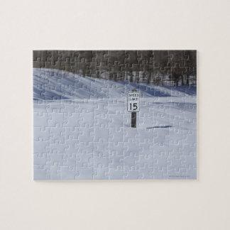 雪で埋められる15 MPHの印 ジグソーパズル