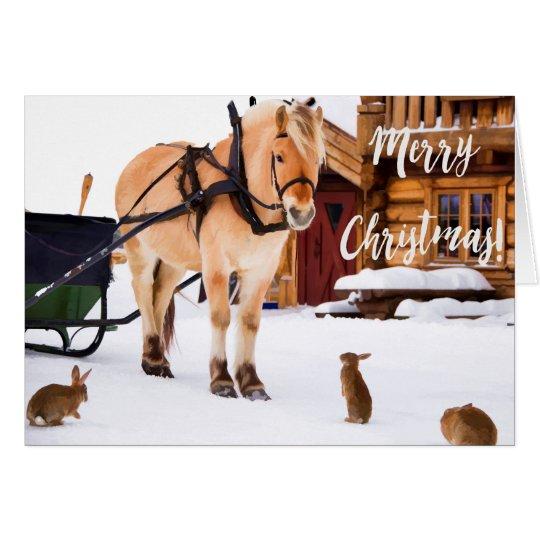 雪で屋外クリスマスの国の農場の牧歌 グリーティングカード
