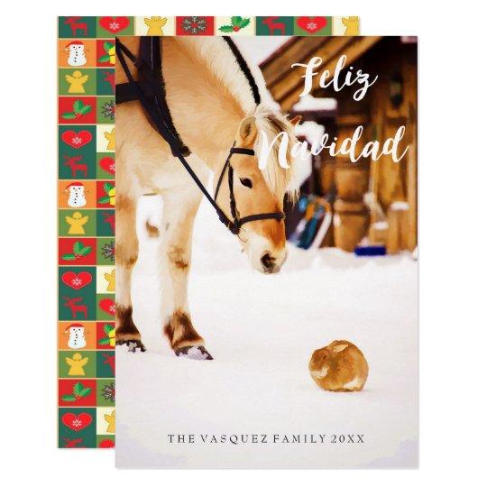 雪で屋外家畜とのFeliz Navidad 8.9 X 12.7 インビテーションカード