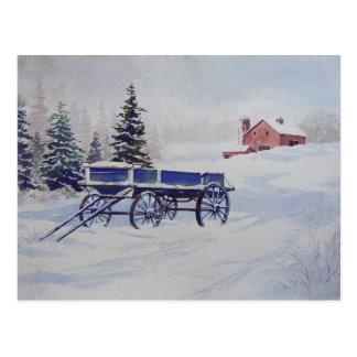 雪で覆われたワゴン郵便はがき ポストカード