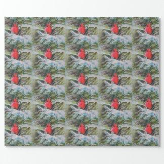 雪で覆われた大枝の赤い(鳥)ショウジョウコウカンチョウ ラッピングペーパー