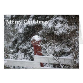雪で覆われた木および鳥の家の挨拶 カード