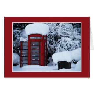雪で覆われた英国の電話ボックスブランクカード カード