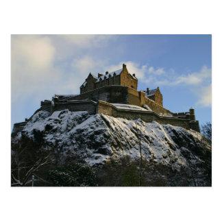 雪で覆われるエジンバラの城 ポストカード