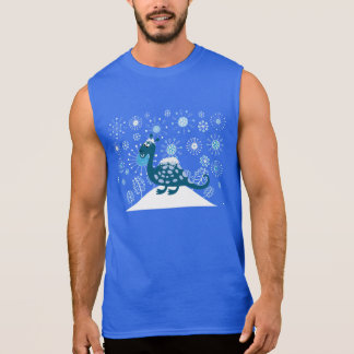 雪で遊んでいるかわいい恐竜! 袖なしシャツ