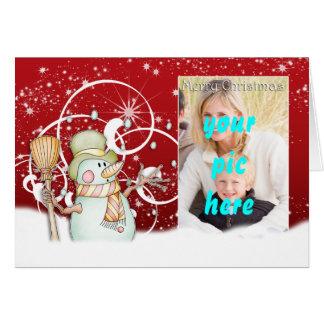 雪とカスタマイズ可能なメリークリスマスの写真カード カード