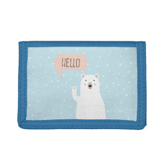 雪のかわいい白くまは挨拶します ナイロン三つ折りウォレット