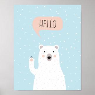 雪のかわいい白くまは挨拶します ポスター