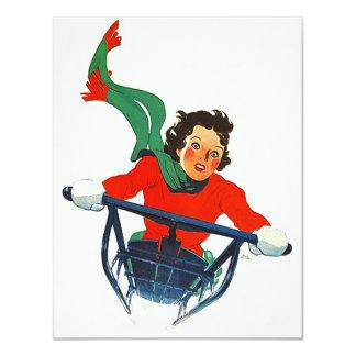 雪のそりの冬のパーティの招待状をSleddingヴィンテージ カード