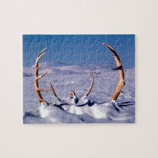 雪のカリブーの(雄ジカの)枝角 ジグソーパズル