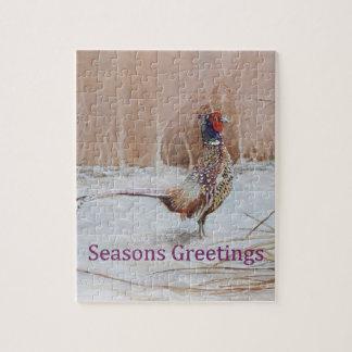 雪のキジは挨拶の芸術に味をつけます ジグソーパズル