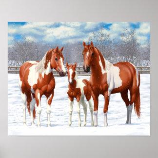 雪のクリのまだら馬の馬 ポスター