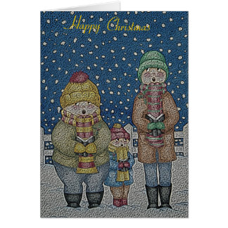 雪のクリスマスのおもしろいなキャロルの歌手は設計します グリーティングカード