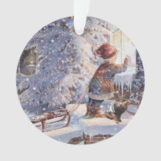 雪のクリスマスのオーナメントの猫 オーナメント