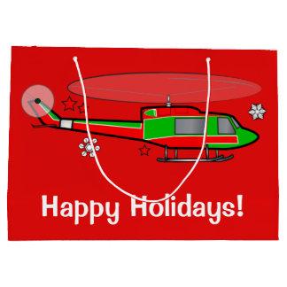 雪のクリスマスのヘリコプター ラージペーパーバッグ