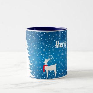雪のクリスマスのマグのトナカイ ツートーンマグカップ