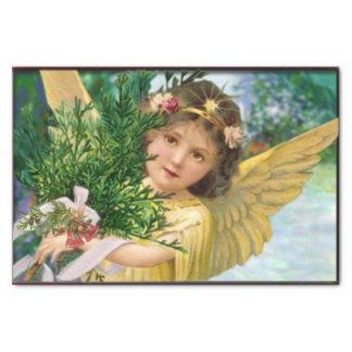 雪のクリスマスのヴィンテージの天使 薄葉紙