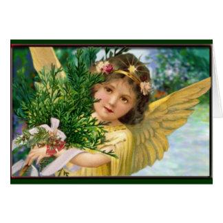 雪のクリスマスの休日カードのヴィンテージの天使 カード