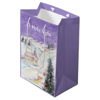 雪のクリスマスの水彩画でおおわれている星明かりの夜 ミディアムペーパーバッグ