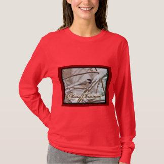 雪のクリスマスの黒によっておおわれる《鳥》アメリカゴガラ Tシャツ
