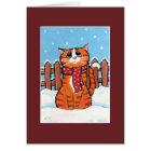 雪のクリスマスカードのショウガの虎猫猫 カード