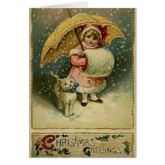 雪のクリスマスカードのビクトリアンな子供そして猫 カード