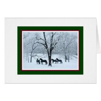 雪のクリスマスカードのFriesianの馬 カード