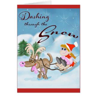 雪のクリスマスカードを通って紛砕 カード