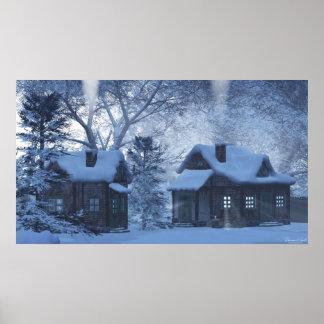 雪のコテージのプリント ポスター
