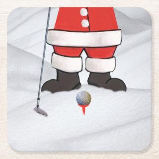雪のゴルフを遊んでいるサンタクロース スクエアペーパーコースター