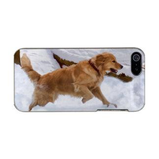雪のゴールデン・リトリーバー犬 メタリックiPhone SE/5/5sケース
